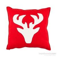 Yastıkminder Koton Kırmızı Beyaz Geyik Aplıke Dekoratif Yastık