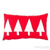 Yastıkminder Koton Kırmızı Beyaz 4 Ağaç Aplıke Dekoratif Yastık