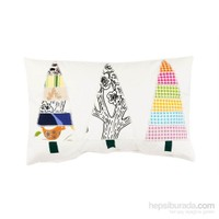 Yastıkminder Polyester Beyaz 3 Ağaç Aplıke Dekoratif Yastık