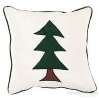 Yastıkminder Şönil Ekru Yeşil Küçük Ağaç Aplike Dekoratif Yastık