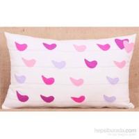 Yastıkminder Koton Polyester Kuşlar Keçe Aplike Dekoratif Yastık