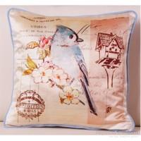 Yastıkminder Kadife Mavi Kuş Baskılı Dekoratif Yastık