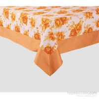 Yastıkminder Koton Oranj Çiçekli Kare Masa Örtü