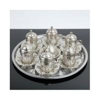 Hepsi Dahice Osmanlı Lale Motifli 6 Kişilik Kahve Seti - Gümüş