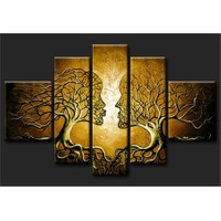 Tictac Sarı Öpüşen Ağaçlar 5 Parça Kanvas Tablo