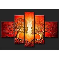 Tictac Kırmızı Öpüşen Ağaçlar 5 Parça Kanvas Tablo