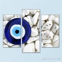 Tabloshop - Nazar Boncuğu I 3 Parçalı Simetrik Canvas Tablo Saat - 80X60cm