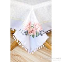 The Mia Çiçek Desenli Masa Örtüsü 140X140 Cm Lila