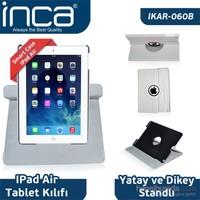 Inca iPad Air Smart Case 360 Derece Hareketli 3 Kademeli Stand Beyaz Deri Kılıf