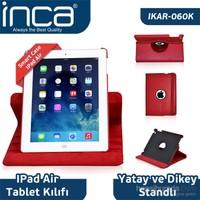 Inca iPad Air Smart Case 360 Derece Hareketli 3 Kademeli Stand Kırmızı Deri Kılıf
