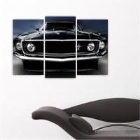 Dekoriza Ford Mustang Klasik Araba 3 Parçalı Kanvas Tablo 80X50cm