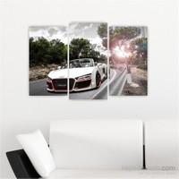 Dekoriza Audi R8 Cabrio Spor Araba 3 Parçalı Kanvas Tablo 80X50cm