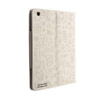 Microsonic Cute Kickstand iPad 2/New iPad/iPad 4 Beyaz Desenli Deri Kılıf