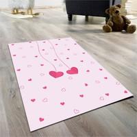 Cici Halı Sarkan Kalpler Çocuk Halısı- Pembe 133X190 Cm