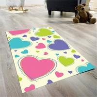Cici Halı Renkli Kalpler Çocuk Halısı 90X140 Cm