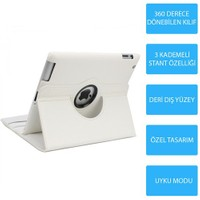 Mobile World iPad 4 360 Derece Dönebilen Beyaz Tablet Kılıfı