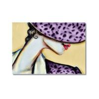 Tictac Mor Şapkalı Kadın Kanvas Tablo - 60X90 Cm
