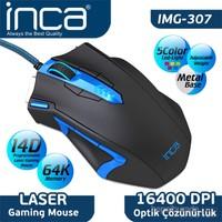Inca IMG-307 16400DPI 14D Laser Metal Base Oyuncu Siyah Mouse + Oyuncu Mouse Pad Hediye !