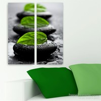 Dekoriza Siyah Taşlar & Yaprak 2 Parçalı Kanvas Tablo 62X70cm