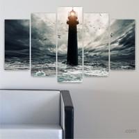 Dekoriza Deniz Feneri 5 Parçalı Kanvas Tablo 110X60cm