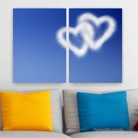 Dekoriza Kalp Bulutlar 2 Parçalı Kanvas Tablo 102X70cm