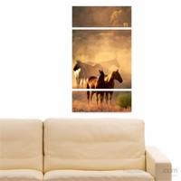Dekoriza Atlar 3 Parçalı Kanvas Tablo 70X125cm
