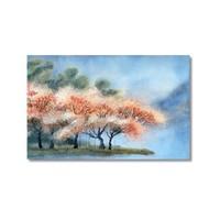 Tictac Pembe Yapraklı Ağaçlar Kanvas Tablo - 40X60 Cm