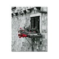 Tictac Penceredeki Çiçekler Kanvas Tablo - 40X60 Cm
