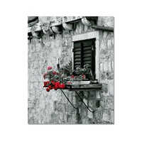 Tictac Penceredeki Çiçekler Kanvas Tablo - 60X90 Cm
