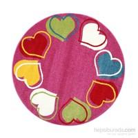 Poypoy Yuvarlak Kalpler Çocuk Halısı 133x133 cm