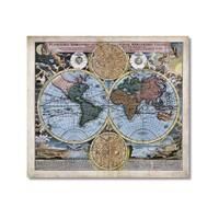Tictac Antik Harita 2 Kanvas Tablo - 60X60 Cm