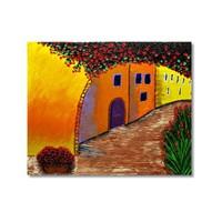 Tictac Çiçekli Sokak Kanvas Tablo - 60X60 Cm