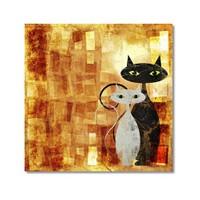 Tictac Siyah Ve Beyaz Kediler 2 Kanvas Tablo - 50X50 Cm