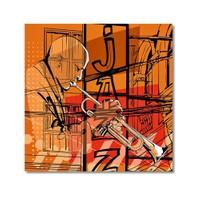 Tictac Jazz Müzisyenleri 4 Kanvas Tablo - 70X70 Cm