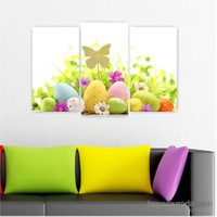 Dekoriza Renkli Yumurta & Papatyalar 3 Parçalı Kanvas Tablo 80X50cm