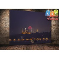 Tablo İstanbul Sultanahmet Ve Dolunay Led Işıklı Kanvas Tablo