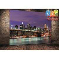 Tablo İstanbul New York Köprü Işıklı Led Kanvas Tablo 45 X 65 Cm