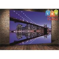 Tablo İstanbul New York Mavi Köprü Led Işıklı Kanvas Tablo 45 X 65 Cm