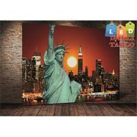 Tablo İstanbul Özgürlük Heykeli New York Led Işıklı Kanvas Tablo 45 X 65 Cm