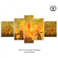 Artred Gallery 5 Parçalı Altın Ve Harikalar Kanvas Tablo 125X56