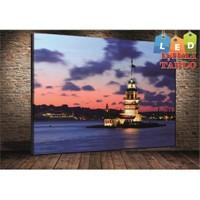 Tablo İstanbul Kız Kulesi Bulutlu Led Işıklı Kanvas Tablo 45*65 Cm