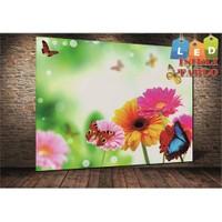 Tablo İstanbul Çiçek Ve Kelebek Led Işıklı Kanvas Tablo 45 X 65 Cm