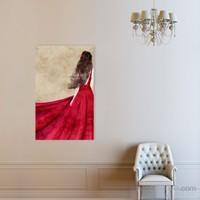 Atlantis Tablo Kırmızı Elbiseli Kadın 50X75 Cm