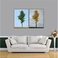 Ritmo-Sari Yeşil Ağaç Kanvas Tablo