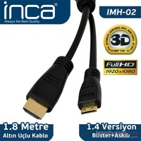 Inca IMH-02 Mini HDMI-HDMI v1.4 3D 1.8m Full HD Altın Uçlu Kablo