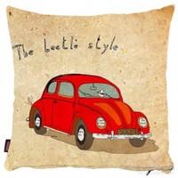 Bengü Accessories Kırmızı Woswos Araba Desenli Dekoratif Yastık