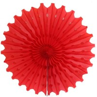 Pandoli Delikli Kırmızı Renk Kağıt Yelpaze Süs 40 Cm 1 Adet