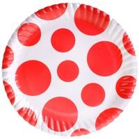 Pandoli Kırmızı Beyaz Puanlı 23 Cm Karton Parti Tabağı 8 Adet