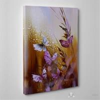 Tabloshop - Butterfly Flower Iı Canvas Tablo - 75X50cm