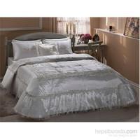 Taç Paola Çift Kişilik Polyester Beyaz Yatak Örtüsü